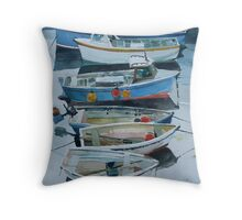 boats in a Cornish village Throw Pillow