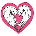 Sweet otters curled up into a love heart by drknice