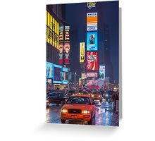 Times square and yellow taxi Greeting Card