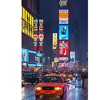 Times square and yellow taxi Photographic Print