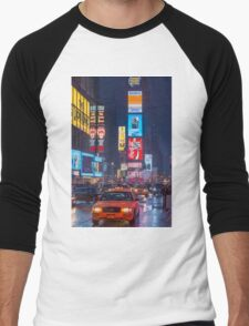 Times square and yellow taxi Men's Baseball ¾ T-Shirt
