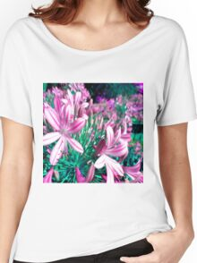Pink and Blue Flowers Women's Relaxed Fit T-Shirt