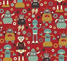 Retro Robots on Red by Cynthia Arre