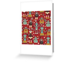 Retro Robots on Red Greeting Card