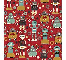 Retro Robots on Red Photographic Print