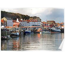 Boats in the Lower Harbour, Whitby Poster