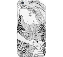 Sweet Girl and Cat Doodle iPhone Case/Skin