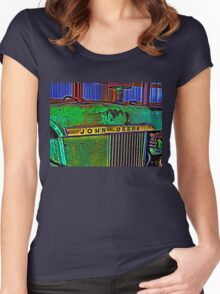 Old Rusty Green John Deere Tractor High Color Contrast Photograph Women's Fitted Scoop T-Shirt