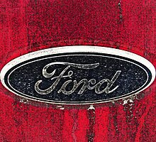 Ford Truck Emblem Dirty Drawing Style Photograph by Adri Turner