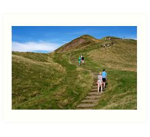 Walking Up Mam Tor Art Print