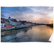 Danube sunset Poster