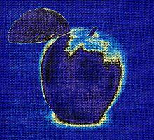 Blue Apple on Burlap Linen Jute by Nhan Ngo