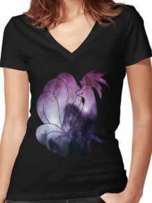 Ninetales Used Confuse Ray Women's Fitted V-Neck T-Shirt