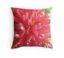 Red Flower Bubbles Throw Pillow