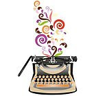 Creative Typewriter illustration with colorful swirls by schtroumpf2510