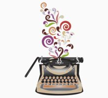 Creative Typewriter illustration with colorful swirls T-Shirt