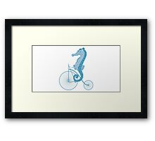 Seahorse on bicycle illustration in blue Framed Print