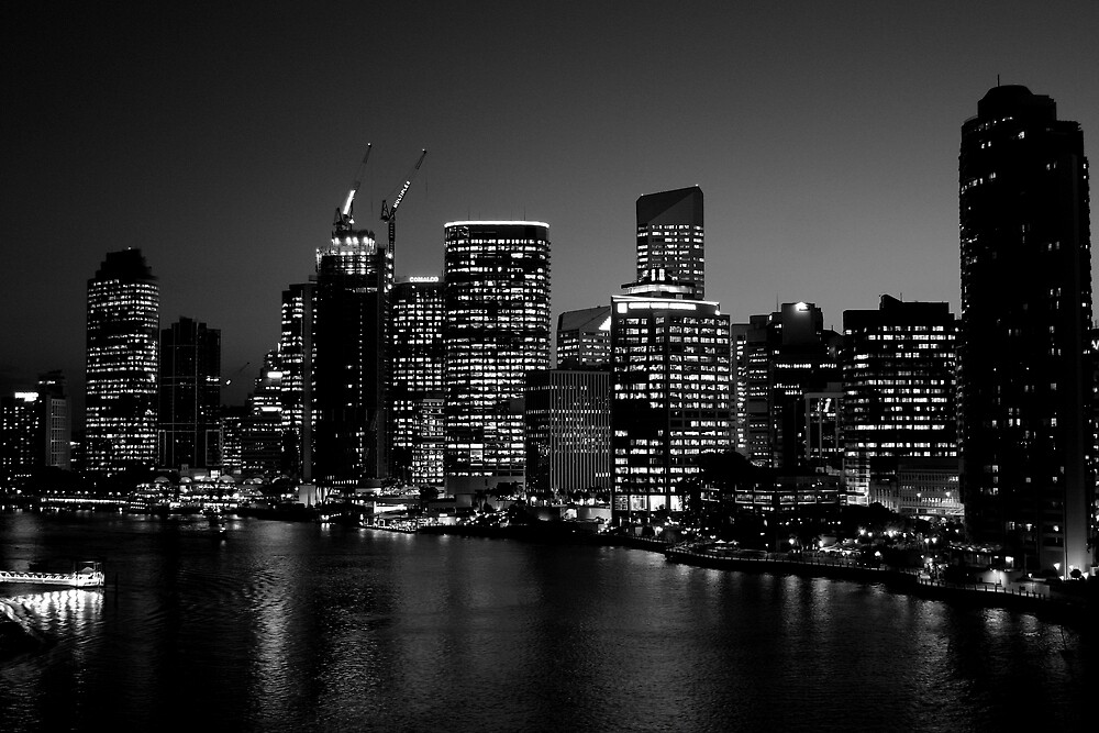 Quot Brisbane City Skyline In Black And White Quot By Freshteapot