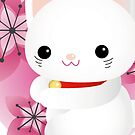 maneki neko and cherry blossom by claclina