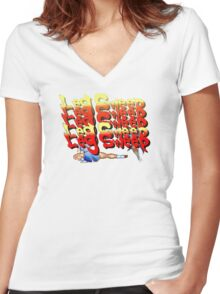 Street Fighter 2:  Leg Sweep Edition Women's Fitted V-Neck T-Shirt