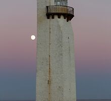 Southerness Lighthouse at Moonrise by derekbeattie