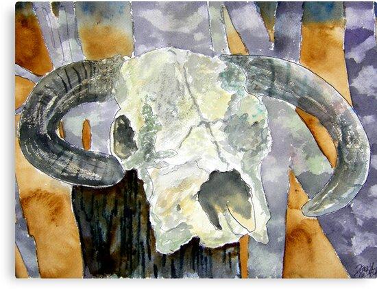 Cow skull southwestern art by derekmccrea