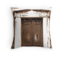 sepia tomb with shattered glass Throw Pillow