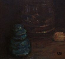 Old insulator and cookie jar by N. Sue M. Shoemaker