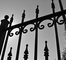 black and white iron rail fence by A.R. Williams