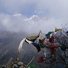 Prayer Flags & Mountains by Louise Levy