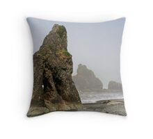 """Sea Stacks in the Morning Fog"" Throw Pillow"