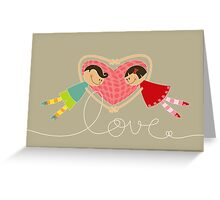 Valentine Boy Hearts Girl Greeting Card
