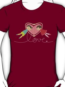 Valentine Boy Hearts Girl T-shirt (dark) T-Shirt