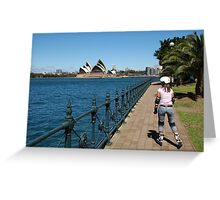 Girl rollerblading along the Sydney Harbour foreshore with the Opera House in the background Greeting Card