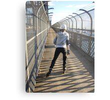 Girl rollerblading / inline skating across the Sydney Harbour Bridge - rollerbladingsydney.com Metal Print
