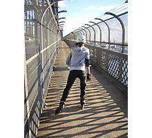 Girl rollerblading / inline skating across the Sydney Harbour Bridge - rollerbladingsydney.com Photographic Print