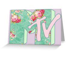 MTV Logo (green floral) Greeting Card