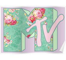 MTV Logo (green floral) Poster