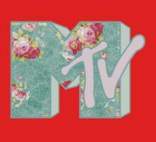 MTV Logo (green floral) Kids Tee