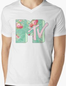 MTV Logo (green floral) Mens V-Neck T-Shirt
