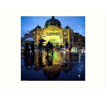 Rush hour in the rain Art Print