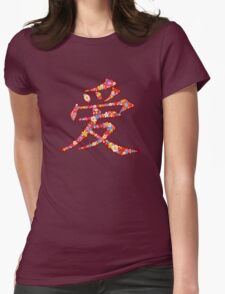 Chinese Ai LOVE Kanji In Spring Flowers Womens Fitted T-Shirt