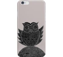 Frizzy-curly owl in black and white on pale background iPhone Case/Skin