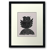 Frizzy-curly owl in black and white on pale background Framed Print