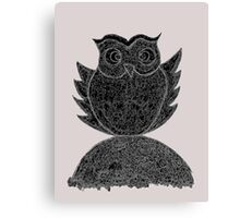 Frizzy-curly owl in black and white on pale background Canvas Print