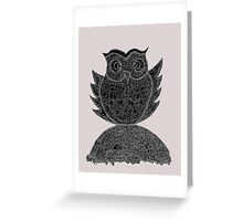 Frizzy-curly owl in black and white on pale background Greeting Card