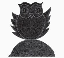 Frizzy-curly owl in black and white on pale background One Piece - Short Sleeve