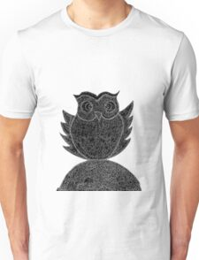 Frizzy-curly owl in black and white on pale background Unisex T-Shirt