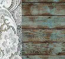 Western Country distressed turquoise Barn Wood white Lace by lfang77
