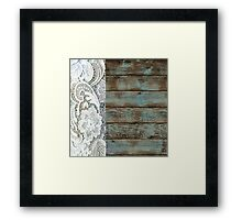 Western Country distressed turquoise Barn Wood white Lace Framed Print